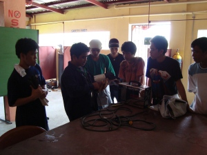 Heats Instructor is explaining the parts and accesories of a welding machine