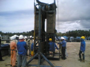 A Submerged Arc Welding is being set up