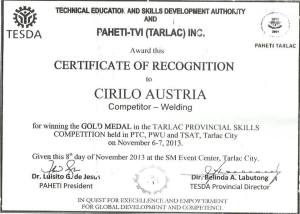 The Certificate of Mr. Austria.