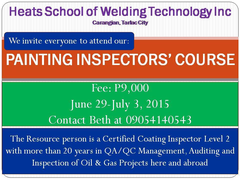 Painting inspector course for june 2015 heats school of for Painting coating inspector jobs