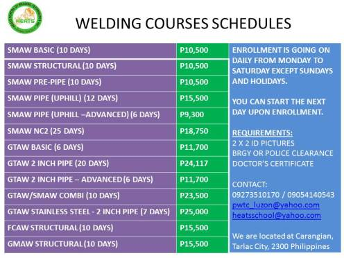 WELDING COURSE sched 2-18 heats