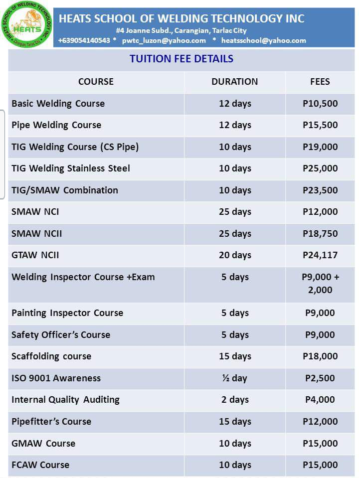 2016 course fees | heats school of welding technology inc. - tarlac city