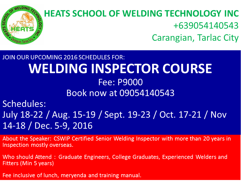 welding inspector course schedule -2016 | heats school of welding ...